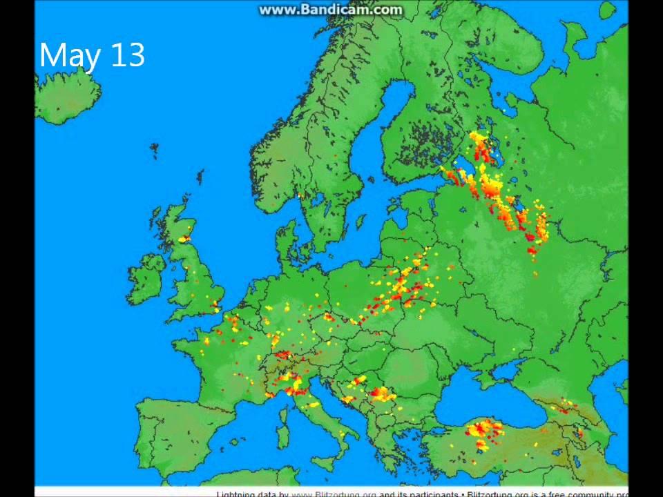 Lightningmaps Lightning Strikes In Europe May YouTube - Lightning strike map