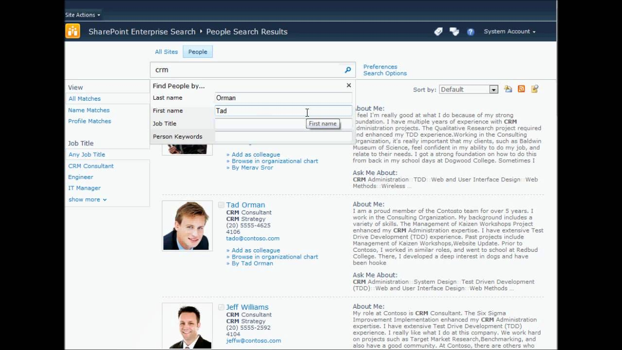 SharePoint People Search & Profile View