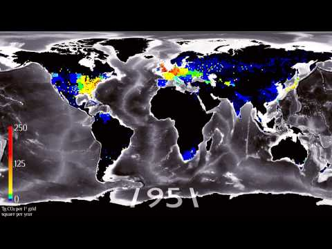 Time-lapse history of human global CO2 emissions
