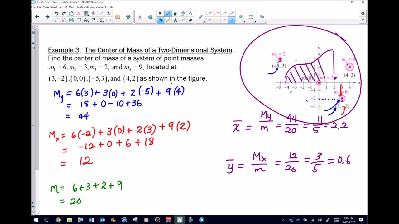 Calculus 2 Center Of Mass In A Two Dimensional System Youtube