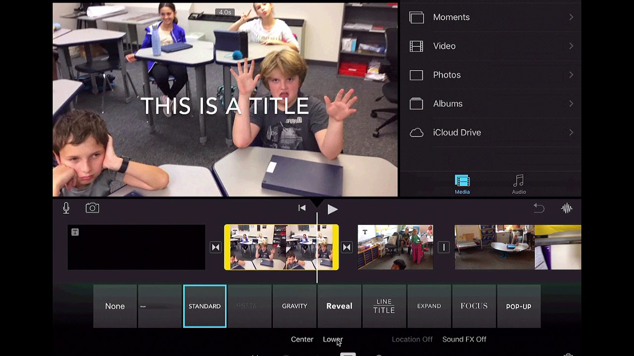 iMovie iPad Move text to bottom/lower portion of the image