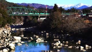 HD【木曽川を渡る、EF64ー1000重連 6088列車】中央本線(南木曽~田立)2020.1.4