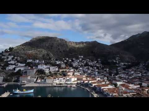 View of Hydra harbor and beyond from Stone House, Hydra Island, Greece