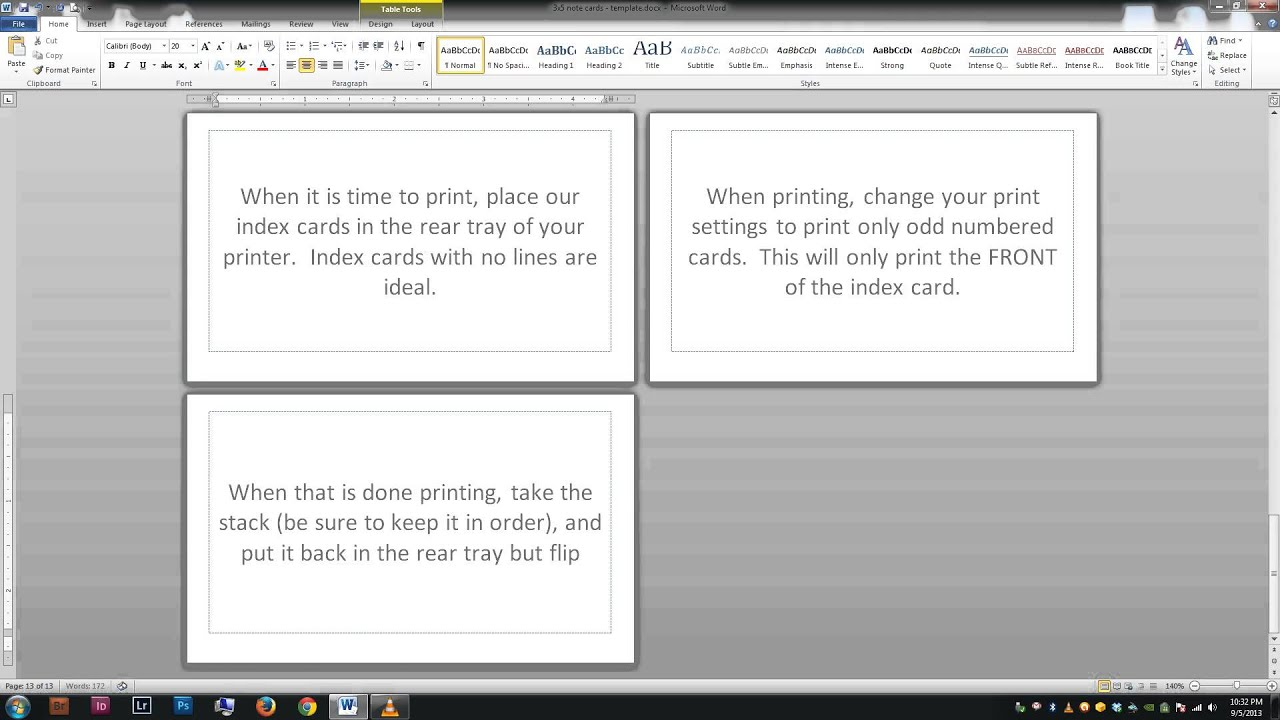 Note index cards Word Template