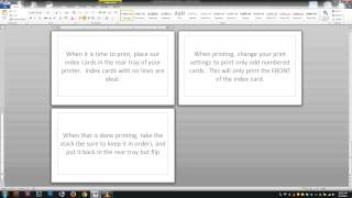 Printing Notes On Actual Note Index Cards Free Word Template Youtube