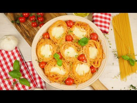 Spaghetti Nester mit Mozzarella- Füllung | Spaghetti mit Tomatensauce mal anders | Nudel Nester