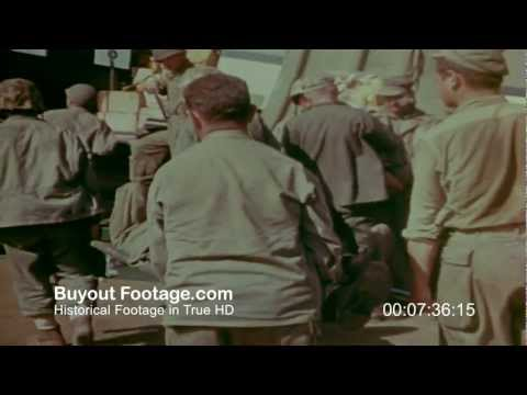 HD Stock Footage WWII Iwo Jima Air Evacuation of Wounded Marines Color