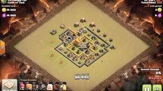 clan war 3 star attack at town hall 6 using giant healer, archer with cc hogs - clash of clans