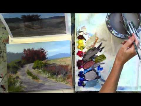 """The Red Tree"" Part 8 – Beginning Step by Step Acrylic Country Road Landscape Painting Demo"
