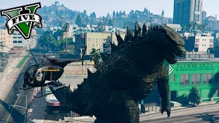GTA V PC MODS - GODZILLA EN LOS SANTOS !! UN MONSTRUO EN GTA  - ElChurches