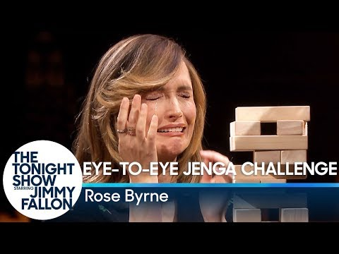 Rose Byrne Takes on the EyetoEye Jenga Challenge