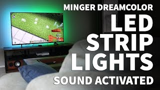 Sound Activated LED Strip Lights Behind TV – Minger DreamColor Bluetooth RGB LED TV Backlight