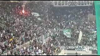 Panathinaikos-Olympiakos (basket): tifo e torce degli ultras verdi
