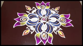 lotus with deepam rangoli  | simple lotus rangoli for beginners