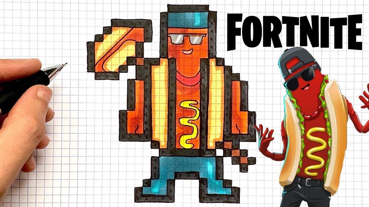How To Draw Hot Dog Skin Pixel Art Fortnite