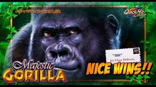 IGT - Majestic Gorilla Slot Live Play Bonuses & NICE Line Hit WINS!