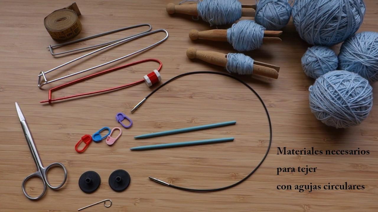 Materiales necesarios para tejer con agujas circulares - YouTube c19cb307a1d