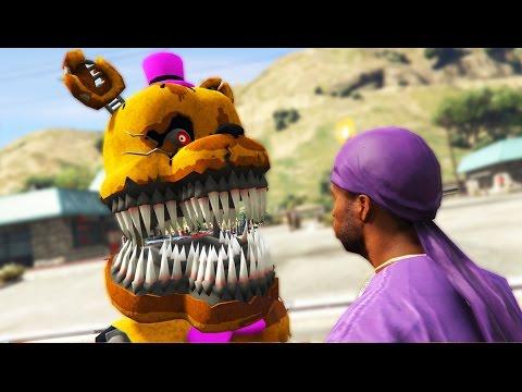 NIGHTMARE ANIMATRONICS vs INSANE GANG WAR (GTA 5 Mods FNAF Funny Moments)