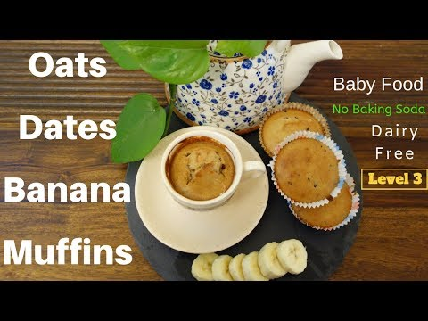 Dairy Free Banana Dates Oats Muffin Without Baking Powder Or Soda | Healthy+Easy (10 Months Old +)