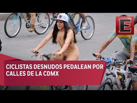 Seis mil ciclistas participan en rodada nudista en la CDMX