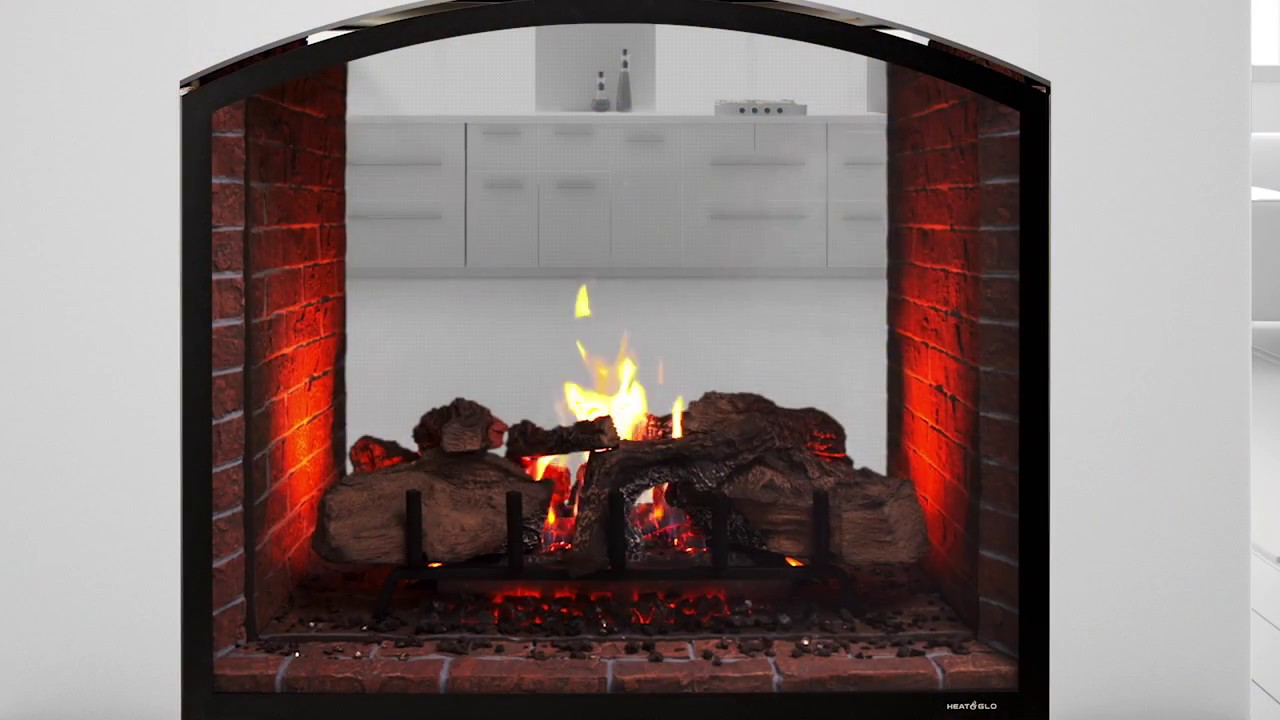 heat u0026 glo escape see through gas fireplace youtube