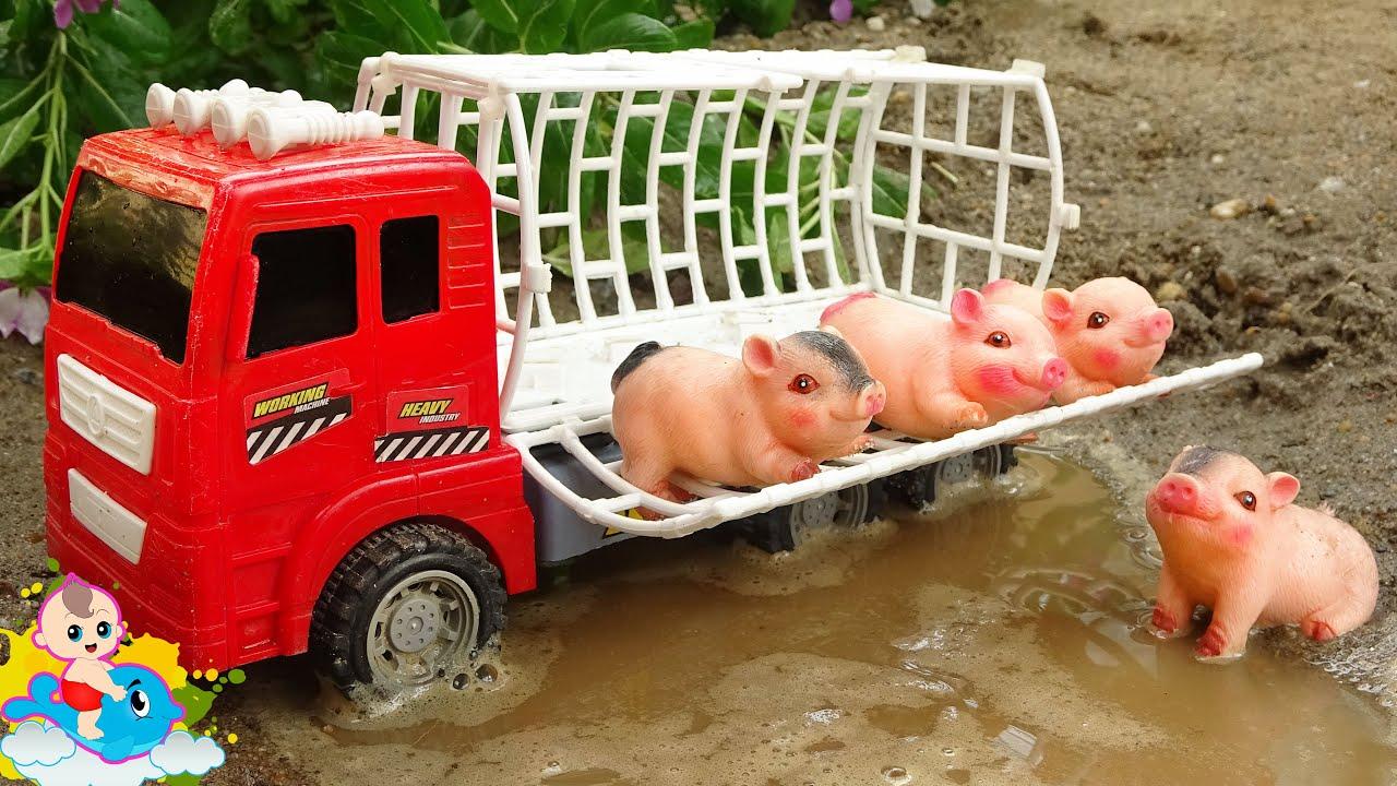 Đồ Chơi Xe Ô Tô Chở Các Bạn Lợn Đi Thăm Khu Rừng - Bé Cá Đồ Chơi