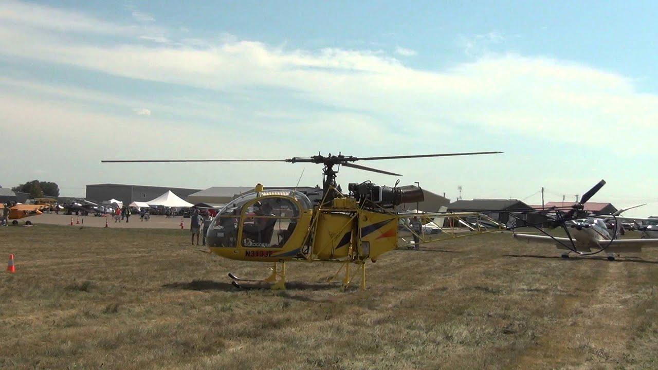 Wheels Up Aviation >> Sud Aviation SA-315B II Allouette Start Up Takeoff | Osceola Wheels and Wings 2013 - YouTube