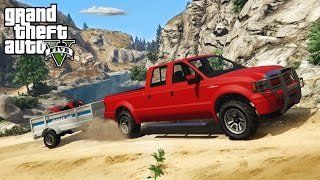 GTA 5 - OFF-ROAD 4x4 ATV HAULING w/ TRAILER! Trails, Hills, & Mudding! (GTA V PC Mods)