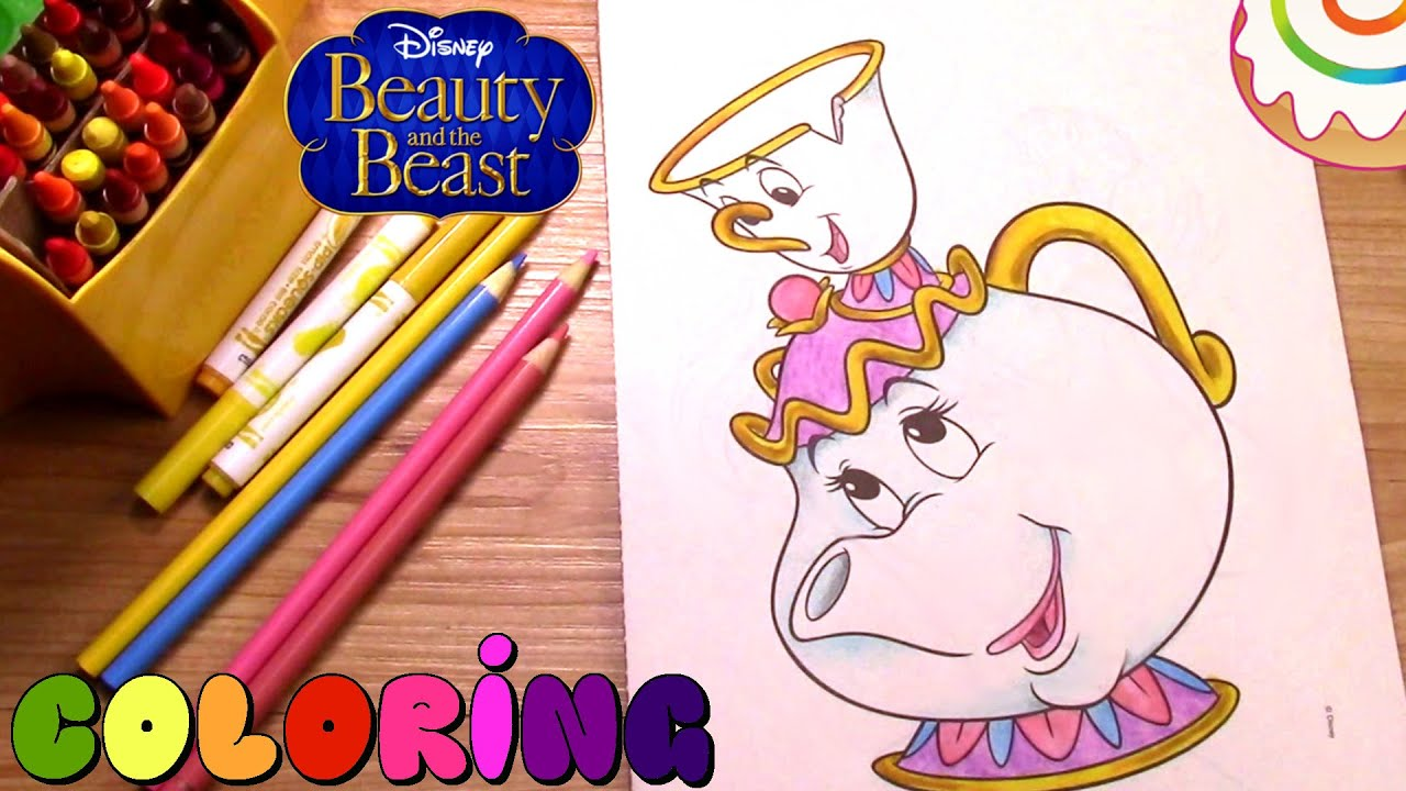 beauty and the beast coloring page mrs potts and chip
