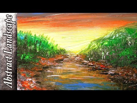 Impressionist Landscape with Sunset Painting Tutorial | Abstract Art thumbnail