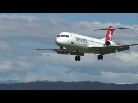 Swiss Mountain view approach! Helvetic Fokker 100 landing in BERNE!