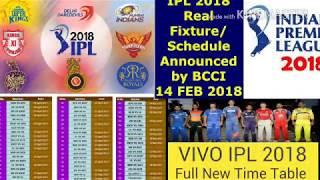 New  all team time table vivo  IPL 2018 Hindi and English || vivo IPL session 11 all team table new