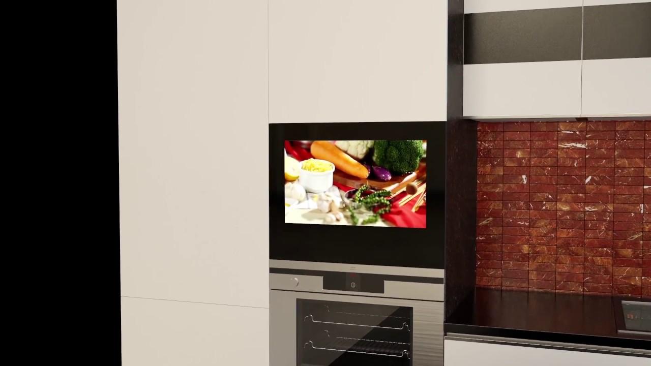 Built In (in Cabinet/cabinet Door) Small Hidden Mirror Waterproof TV For  The Kitchen AVIS AVS220K
