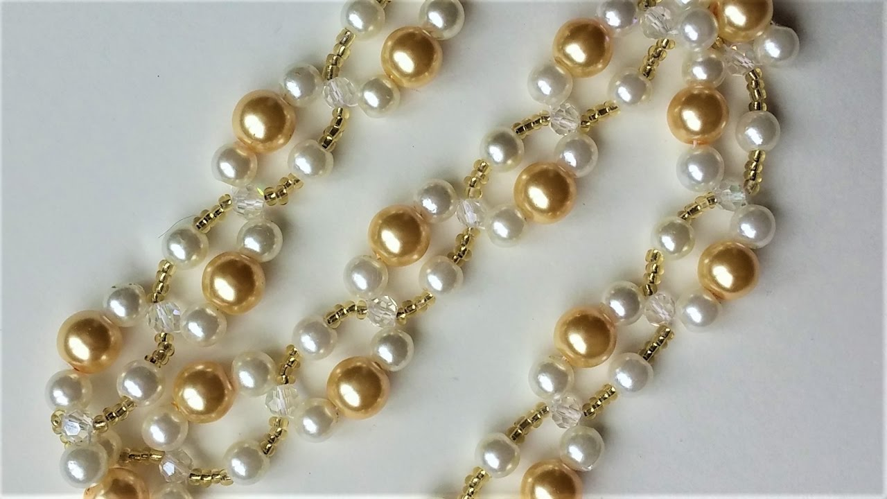 Diy Pearl Bracelet Necklace Easy Beading Pattern For