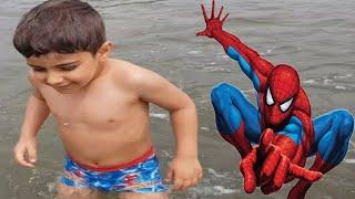 Çınar Efe Örümcek Adamlı Mayosunu Alıp Yüzmek İçin Denize Kaçtı - Funny Kids Video