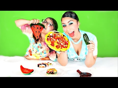 Thumbnail: Real Food VS Gummy Food! Gross Giant Candy Challenge - Best Chef Edition