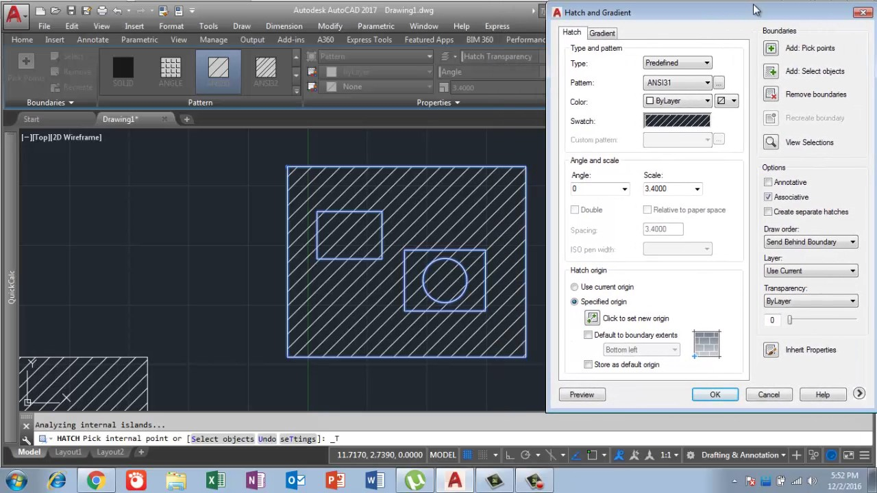 How to apply Hatch command in Auto cad 2017 in Urdu/Hindi ...