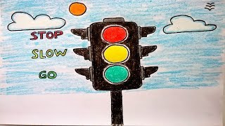 How to draw Traffic Lights easy for Kids. Traffic signals. Traffic rules and Road safety drawing
