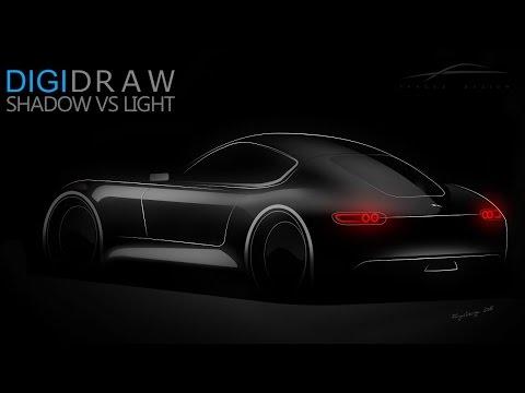 Wie zeichnet man ein Auto? How to draw a car? Licht und Schattenspiel. Conceptart Jaguar XCC