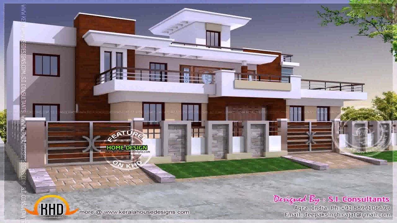 Outer boundary wall design for home in india youtube for Outer look of house design