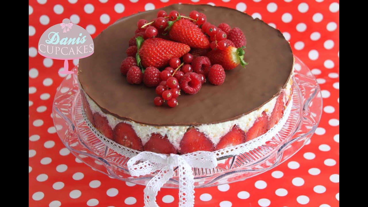 milchreis torte mit schokolade und erdbeeren danis