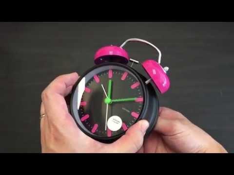 "JCC 4"" Twin Bell Quartz Analog Silent Alarm Clock Inbox & Review - K6415"