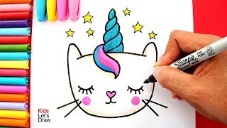 Cómo dibujar un GATICORNIO Fácil para Niños | How to Draw a Cute CATICORN for Kids