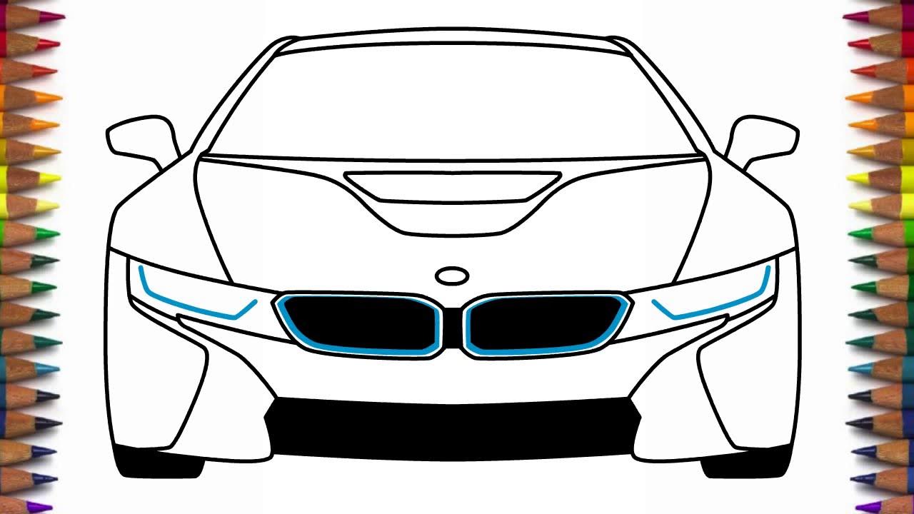 Как нарисовать машину БМВ ай8 BMW i8 - YouTube