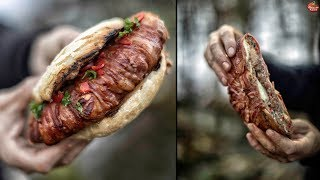 BACON ROLLED DOUBLE MEAT BURGER - BUSHCRAFT FOODPORN