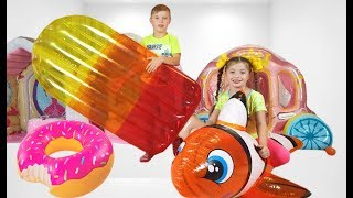 Rinat Pretend Play Hide and Seek with Inflatable Toys and Dominika