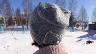 Вязаная шапка с бантиком//Удлиненная женская шапка спицами