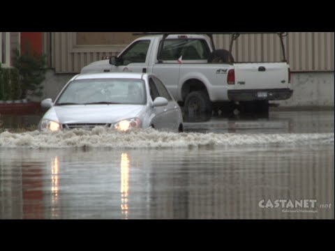 Industrial zone floods following storm