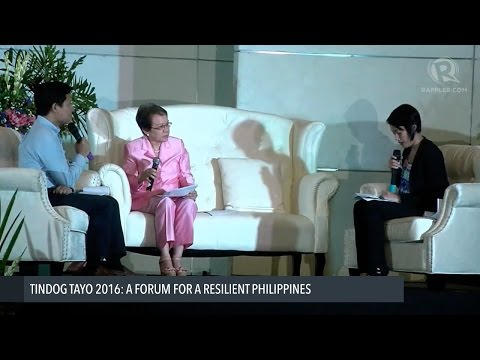 Tindog Tayo forum on disaster risk reduction: Miriam Defensor Santiago's position